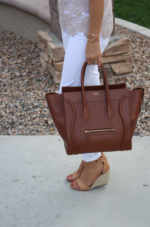 Tan Crochet Shell, White Skinny Denim, Tan Wedge Heels, Celine Bag, Loft, Banana Republic, Pearls 5