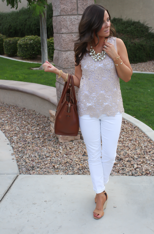 Tan Crochet Shell, White Skinny Denim, Tan Wedge Heels, Celine Bag, Loft, Banana Republic, Pearls 6