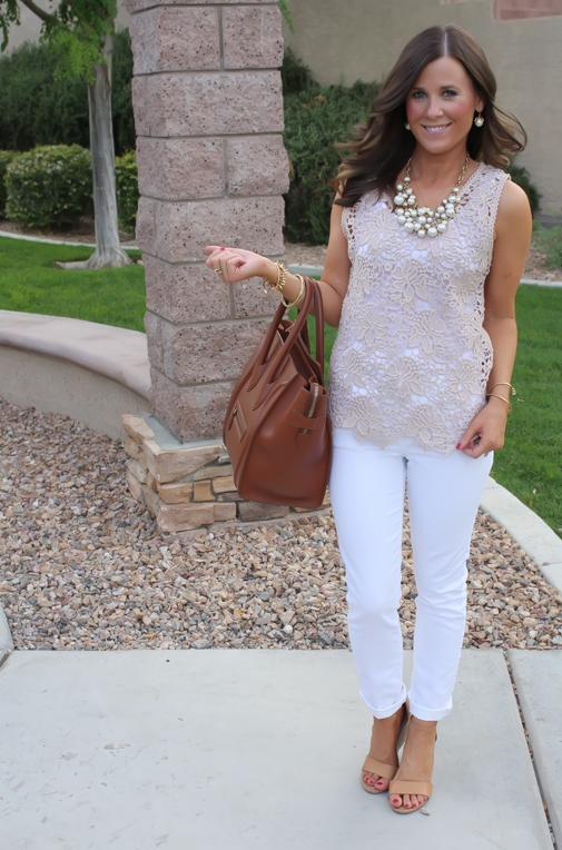 Tan Crochet Shell, White Skinny Denim, Tan Wedge Heels, Celine Bag, Loft, Banana Republic, Pearls 7