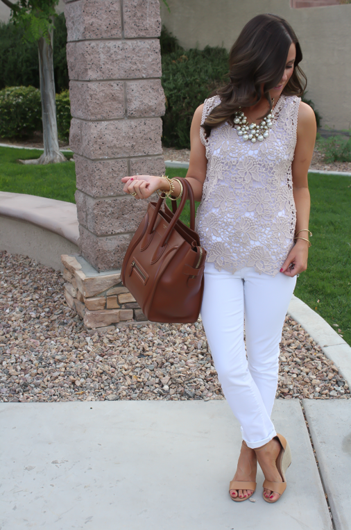 Tan Crochet Shell, White Skinny Denim, Tan Wedge Heels, Celine Bag, Loft, Banana Republic, Pearls 8