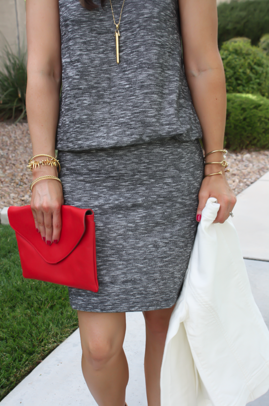 Grey Knit Dress, Tan Booties, Red Clutch, Ivory jacket, Loft, Lou and Grey, Joie, J.Crew, Stella and Dot 18