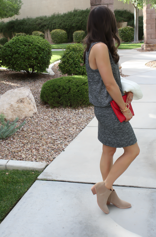 Grey Knit Dress, Tan Booties, Red Clutch, Ivory jacket, Loft, Lou and Grey, Joie, J.Crew, Stella and Dot 2