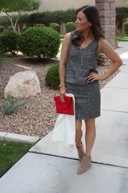 Grey Knit Dress, Tan Booties, Red Clutch, Ivory jacket, Loft, Lou and Grey, Joie, J.Crew, Stella and Dot 4