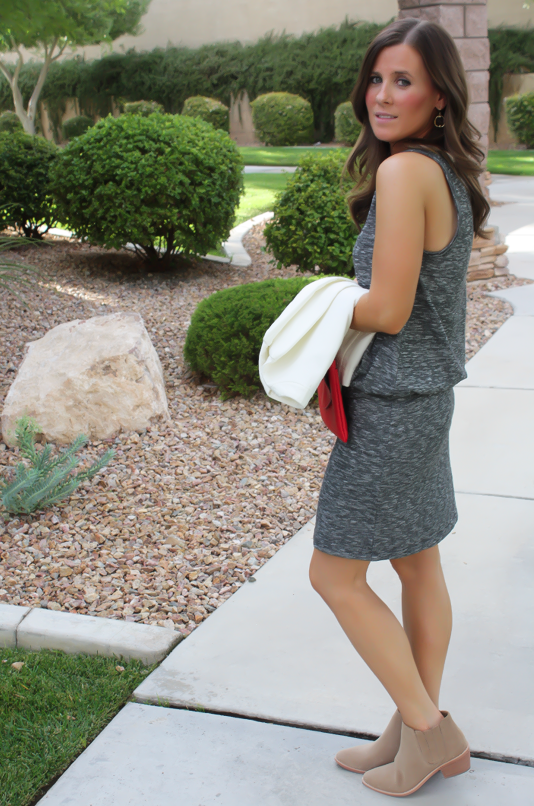 Grey Knit Dress, Tan Booties, Red Clutch, Ivory jacket, Loft, Lou and Grey, Joie, J.Crew, Stella and Dot 6