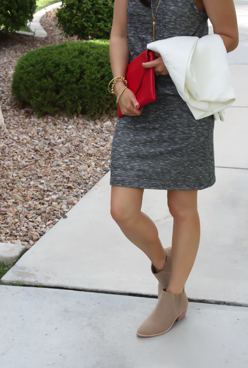 Grey Knit Dress, Tan Booties, Red Clutch, Ivory jacket, Loft, Lou and Grey, Joie, J.Crew, Stella and Dot