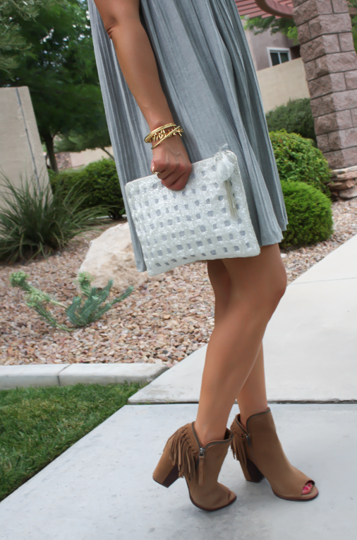 Grey Pleated Dress, Brown Fringe Booties, White Sequin Clutch, Anthropologie, Dolce VIta 11