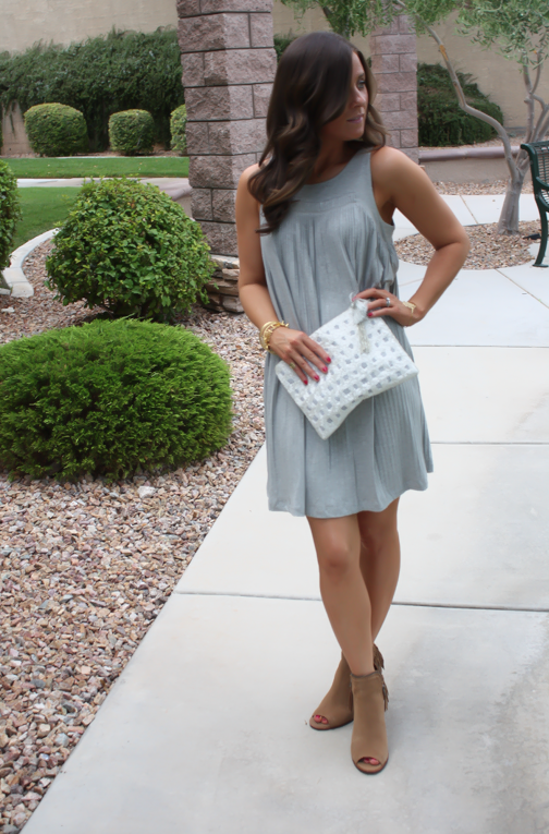 Grey Pleated Dress, Brown Fringe Booties, White Sequin Clutch, Anthropologie, Dolce VIta 3