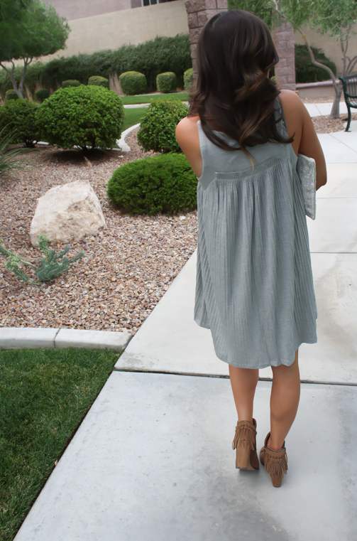 Grey Pleated Dress, Brown Fringe Booties, White Sequin Clutch, Anthropologie, Dolce VIta 8