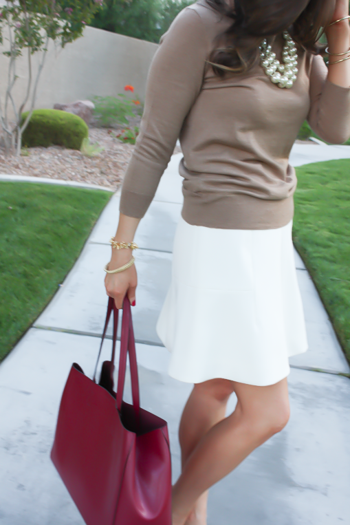 Ivory Fluted Skirt, Plaid Heels, Tan Sweater, Pearls, Cranberry Tote, J.Crew, Banana Republic, Stella and Dot 11