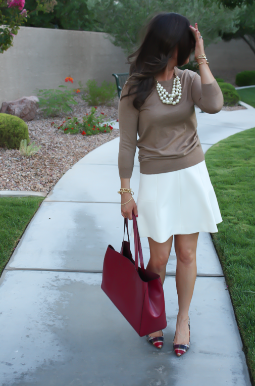 Ivory Fluted Skirt, Plaid Heels, Tan Sweater, Pearls, Cranberry Tote, J.Crew, Banana Republic, Stella and Dot 4