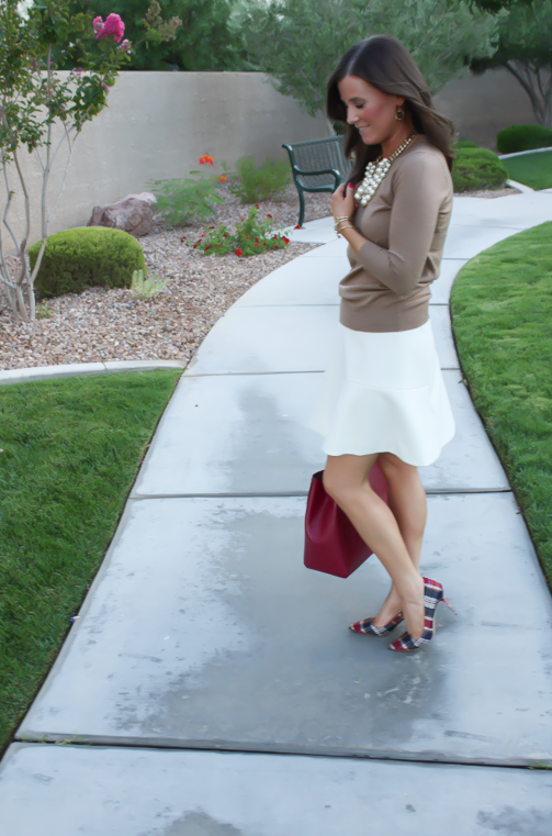 Ivory Fluted Skirt, Plaid Heels, Tan Sweater, Pearls, Cranberry Tote, J.Crew, Banana Republic, Stella and Dot 5