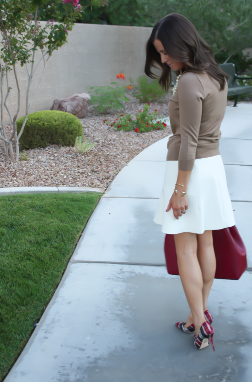 Ivory Fluted Skirt, Plaid Heels, Tan Sweater, Pearls, Cranberry Tote, J.Crew, Banana Republic, Stella and Dot 7