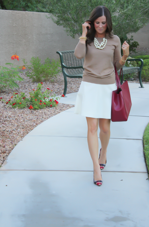 Ivory Fluted Skirt, Plaid Heels, Tan Sweater, Pearls, Cranberry Tote, J.Crew, Banana Republic, Stella and Dot 8