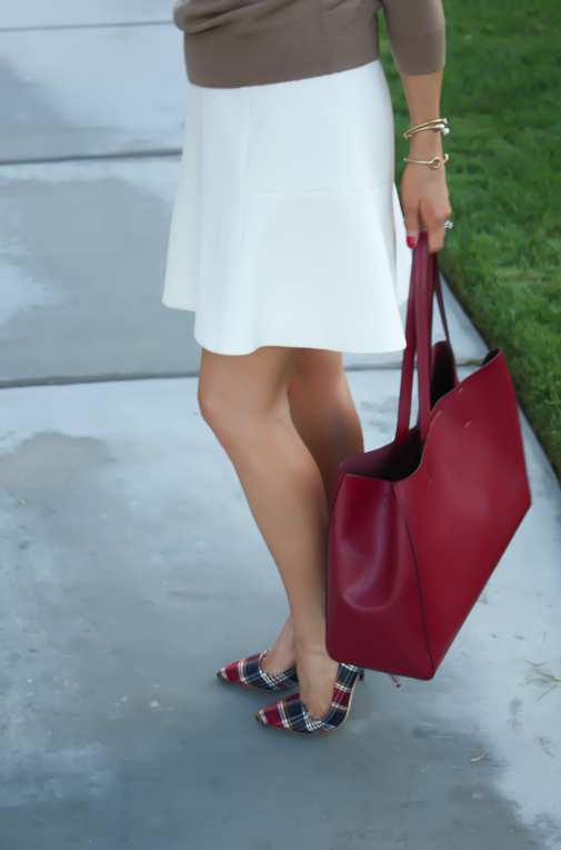 Ivory Fluted Skirt, Plaid Heels, Tan Sweater, Pearls, Cranberry Tote, J.Crew, Banana Republic, Stella and Dot 9