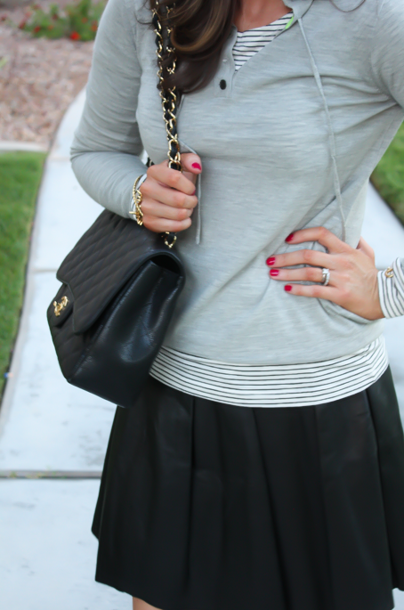 Leather Skirt, Grey Sweater Hoodie, Tan Flats, Striped Tee, Banana Rebpulic, J.Crew, Madewell, Chanel 4