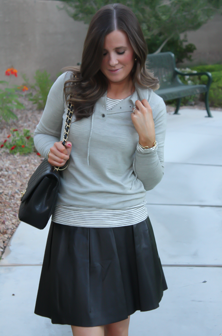 Leather Skirt, Grey Sweater Hoodie, Tan Flats, Striped Tee, Banana Rebpulic, J.Crew, Madewell, Chanel 5
