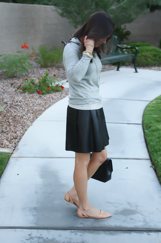 Leather Skirt, Grey Sweater Hoodie, Tan Flats, Striped Tee, Banana Rebpulic, J.Crew, Madewell, Chanel 6
