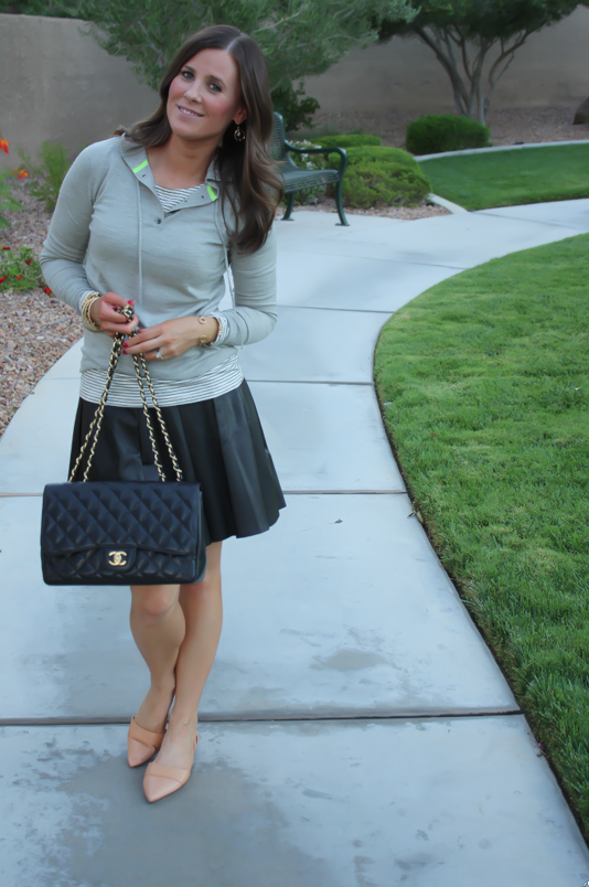 Leather Skirt, Grey Sweater Hoodie, Tan Flats, Striped Tee, Banana Rebpulic, J.Crew, Madewell, Chanel 7