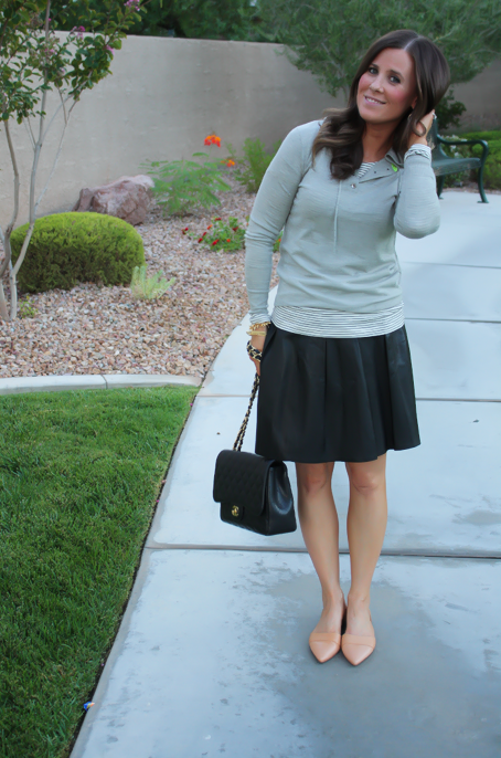 Leather Skirt, Grey Sweater Hoodie, Tan Flats, Striped Tee, Banana Rebpulic, J.Crew, Madewell, Chanel