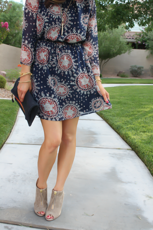 Navy Print Dress, Peep Toe Booties, Navy Clutch, Forever 21, Paul Green, Clare V, J.Crew, Stella and Dot 12