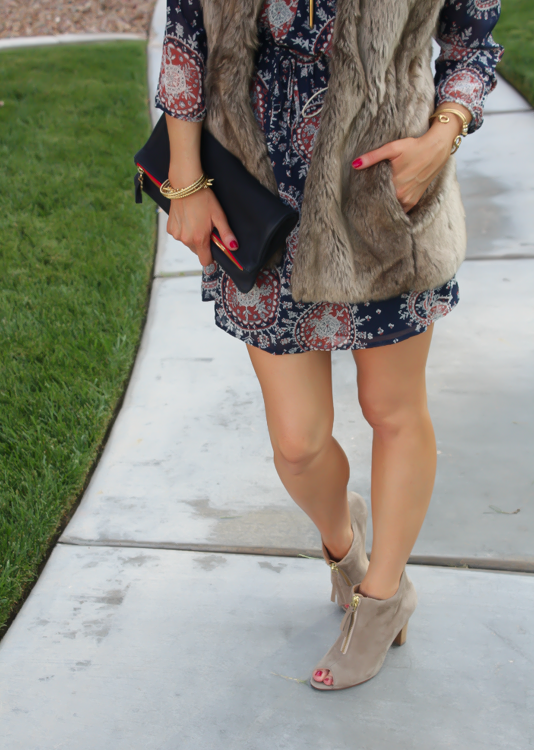 Navy Print Dress, Peep Toe Booties, Navy Clutch, Forever 21, Paul Green, Clare V, J.Crew, Stella and Dot 14