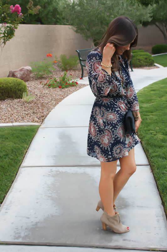 Navy Print Dress, Peep Toe Booties, Navy Clutch, Forever 21, Paul Green, Clare V, J.Crew, Stella and Dot 3