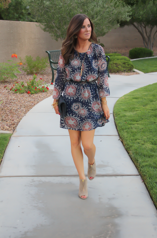 Navy Print Dress, Peep Toe Booties, Navy Clutch, Forever 21, Paul Green, Clare V, J.Crew, Stella and Dot 9