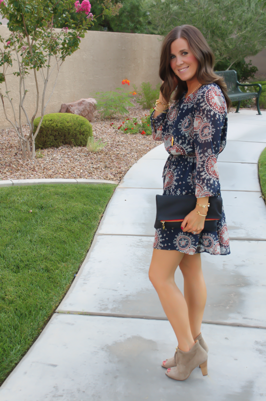 Navy Print Dress, Peep Toe Booties, Navy Clutch, Forever 21, Paul Green, Clare V, J.Crew, Stella and Dot