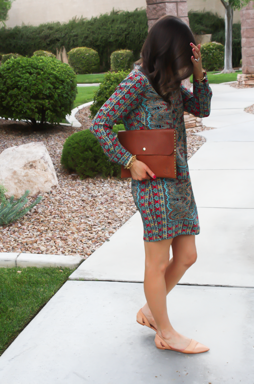Printed Shift Dress, Tan Flats, Cognac Clutch, Tolani, Madewell 11