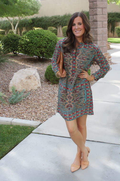 Printed Shift Dress, Tan Flats, Cognac Clutch, Tolani, Madewell 12