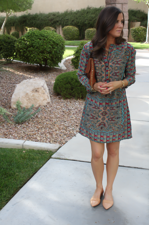 Printed Shift Dress, Tan Flats, Cognac Clutch, Tolani, Madewell 14