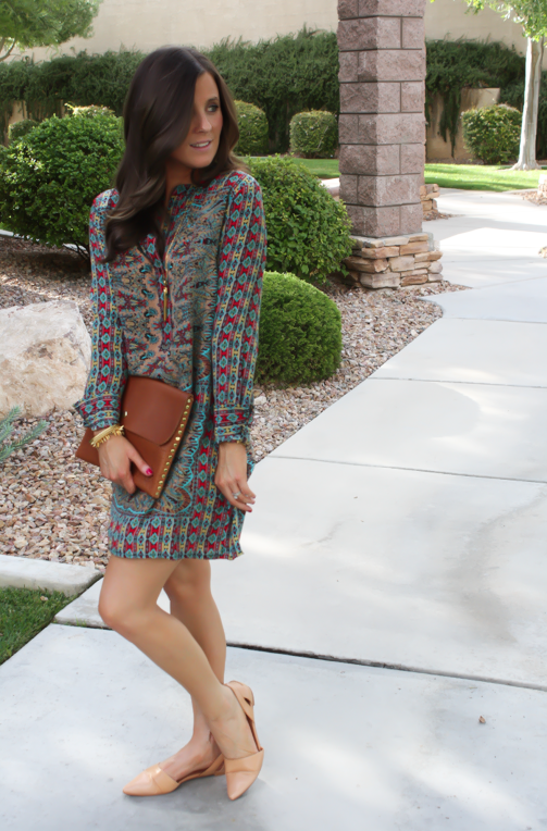 Printed Shift Dress, Tan Flats, Cognac Clutch, Tolani, Madewell 17