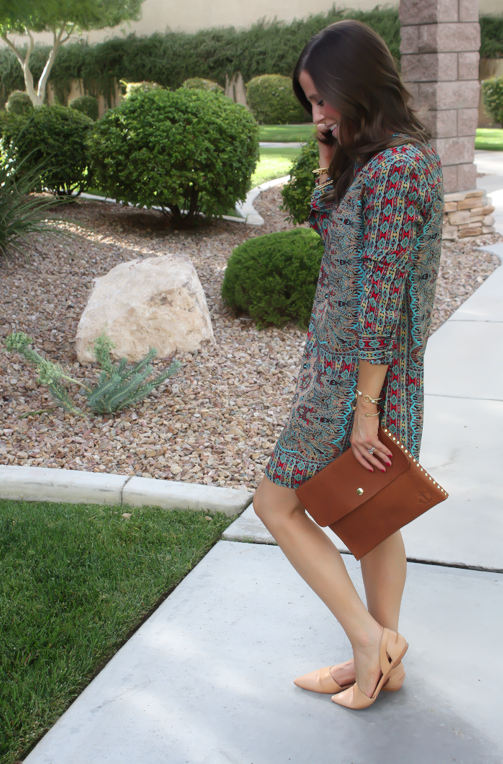Printed Shift Dress, Tan Flats, Cognac Clutch, Tolani, Madewell 3