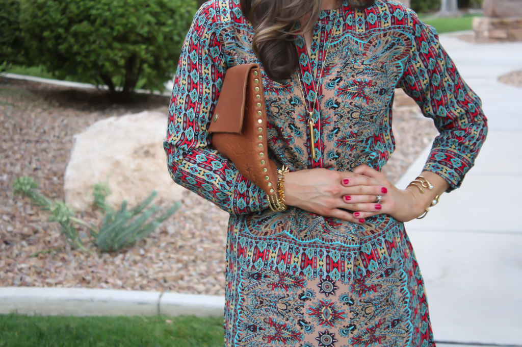 Printed Shift Dress, Tan Flats, Cognac Clutch, Tolani, Madewell 6