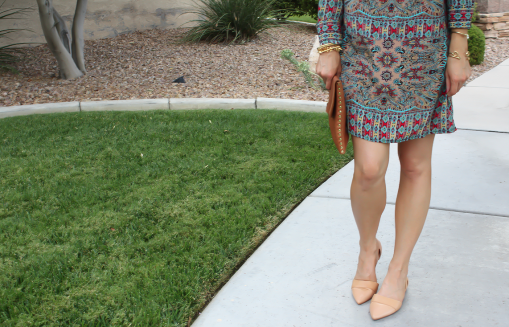 Printed Shift Dress, Tan Flats, Cognac Clutch, Tolani, Madewell 7