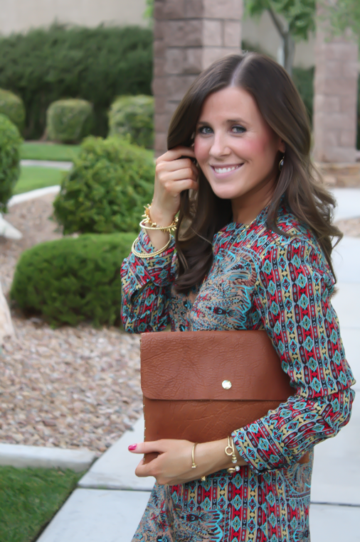 Printed Shift Dress, Tan Flats, Cognac Clutch, Tolani, Madewell 8