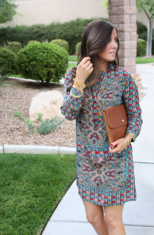 Printed Shift Dress, Tan Flats, Cognac Clutch, Tolani, Madewell 9