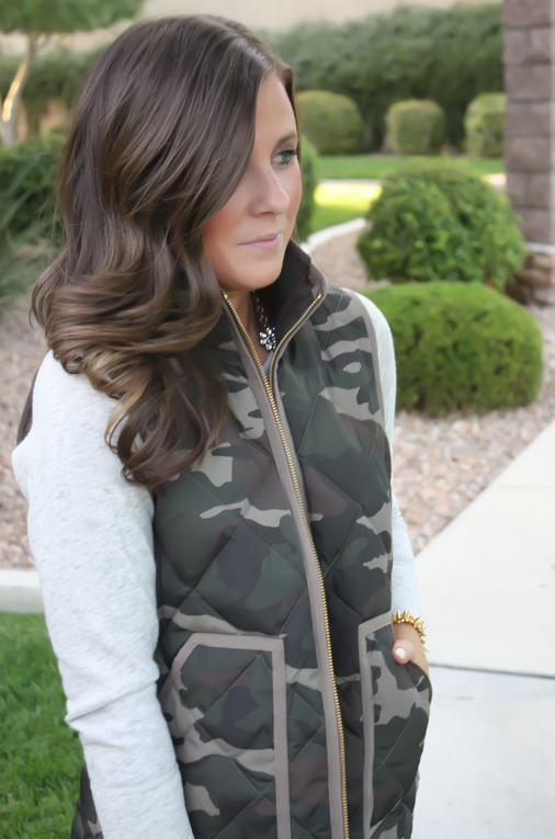 Camo Vest, Sweatshirt Dress, Tan Booties, Red Crossbody, J.Crew Factory, J.Crew, Joie, Chloe 14