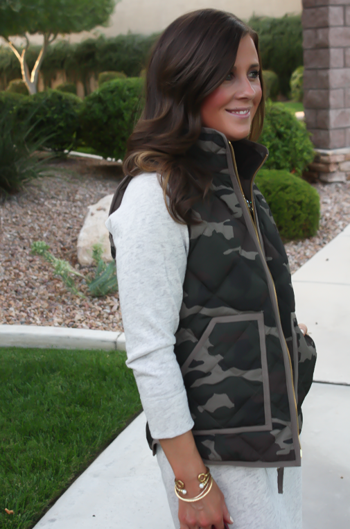 Camo Vest, Sweatshirt Dress, Tan Booties, Red Crossbody, J.Crew Factory, J.Crew, Joie, Chloe 16