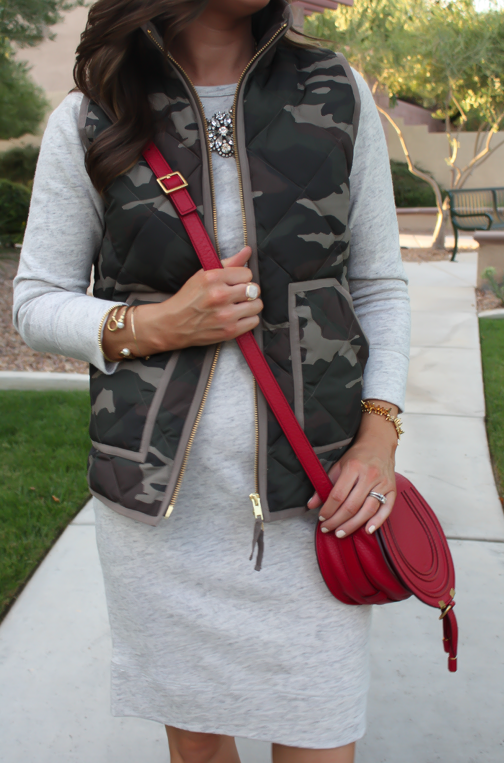 Camo Vest, Sweatshirt Dress, Tan Booties, Red Crossbody, J.Crew Factory, J.Crew, Joie, Chloe 21