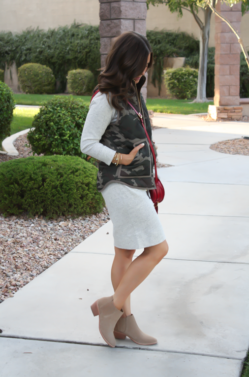 Camo Vest, Sweatshirt Dress, Tan Booties, Red Crossbody, J.Crew Factory, J.Crew, Joie, Chloe 3