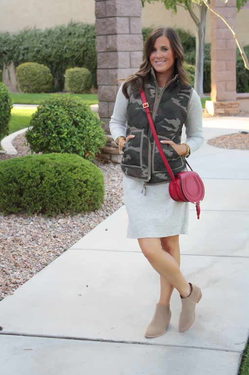 Camo Vest, Sweatshirt Dress, Tan Booties, Red Crossbody, J.Crew Factory, J.Crew, Joie, Chloe 5