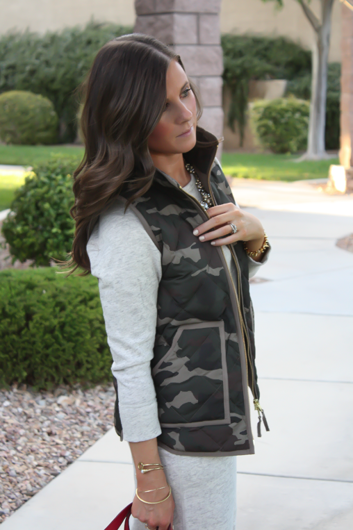 Camo Vest, Sweatshirt Dress, Tan Booties, Red Crossbody, J.Crew Factory, J.Crew, Joie, Chloe 7