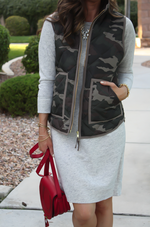 Camo Vest, Sweatshirt Dress, Tan Booties, Red Crossbody, J.Crew Factory, J.Crew, Joie, Chloe 8