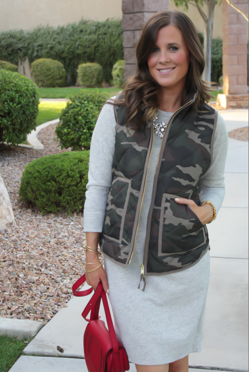 Camo Vest, Sweatshirt Dress, Tan Booties, Red Crossbody, J.Crew Factory, J.Crew, Joie, Chloe 9