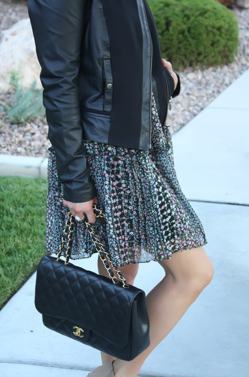 Floral Dress, Leather Jacket, Booties, Quilted Bag, Nordstrom, Anthropologie, Joie, Chanel 12