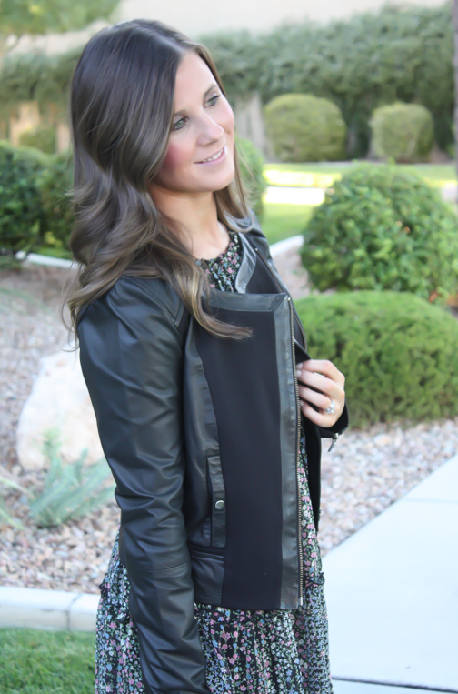 Floral Dress, Leather Jacket, Booties, Quilted Bag, Nordstrom, Anthropologie, Joie, Chanel 13