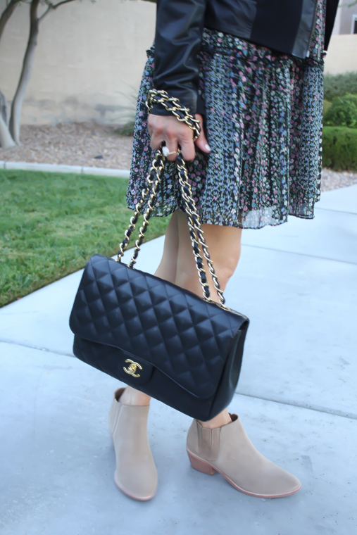 Floral Dress, Leather Jacket, Booties, Quilted Bag, Nordstrom, Anthropologie, Joie, Chanel 14
