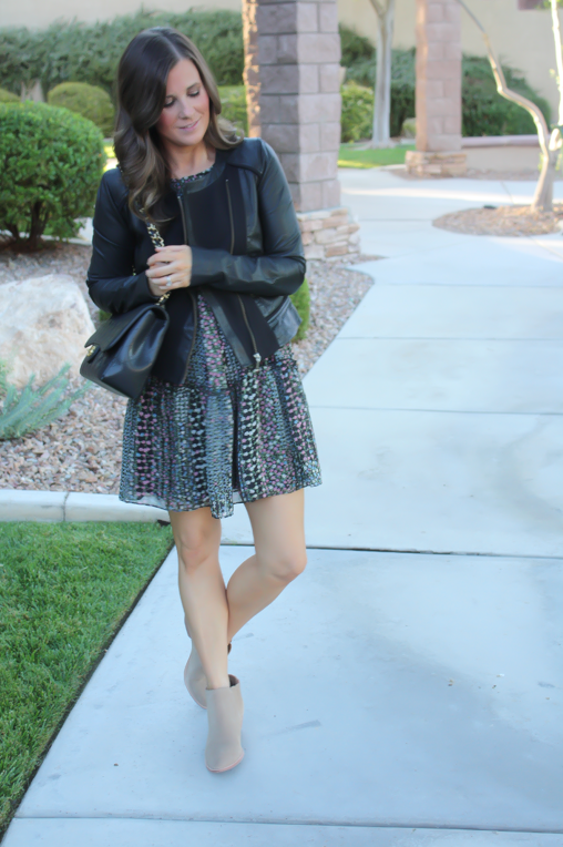 Floral Dress, Leather Jacket, Booties, Quilted Bag, Nordstrom, Anthropologie, Joie, Chanel 2