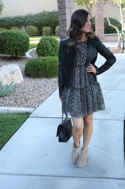 Floral Dress, Leather Jacket, Booties, Quilted Bag, Nordstrom, Anthropologie, Joie, Chanel 3